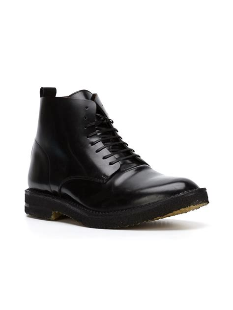 black lace up mens boots buttero lace up ankle boots in black for lyst