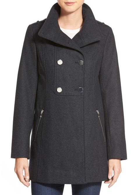 double breasted swing coat guess guess double breasted wool blend swing coat