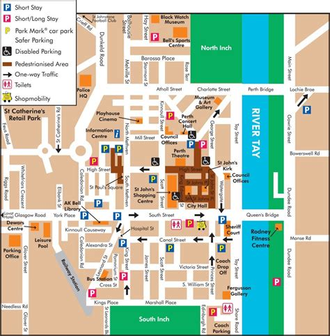 printable map perth city parking in perth scotland and travel information