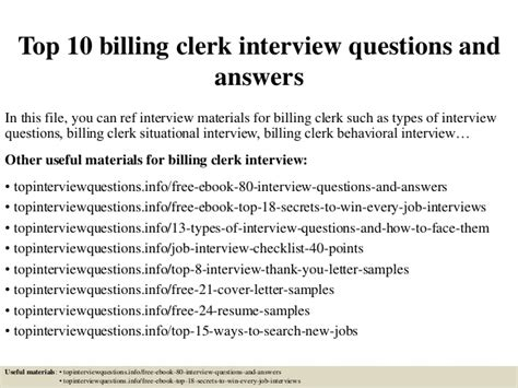 top 10 billing clerk questions and answers