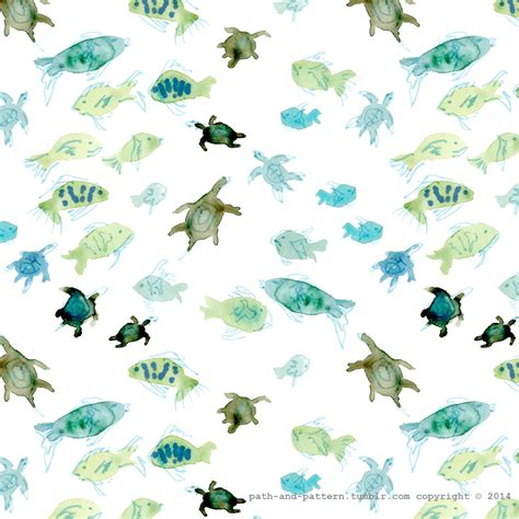 watercolor ocean pattern fish turtle watercolor pattern path and pattern