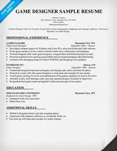 Video Resume Sample sample resume video game designer sample resume