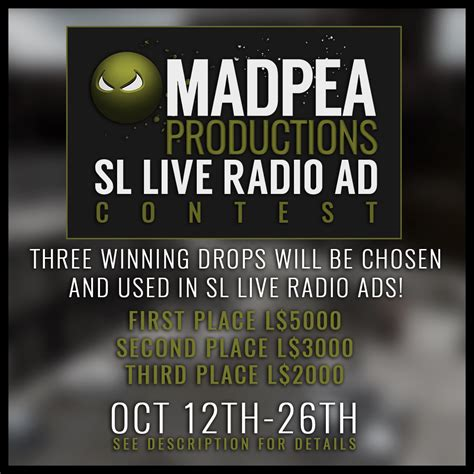 Radio Sweepstakes - sl live radio ad contest send in your drops madpea productions