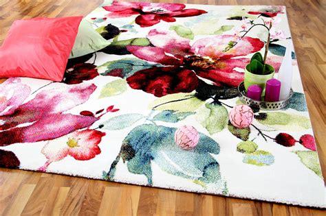 Designer Teppich Brilliant Rosa Blumen Teppiche
