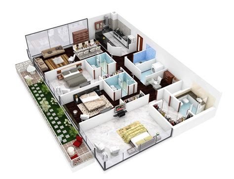 house plans 3d 3 bedroom apartment house plans