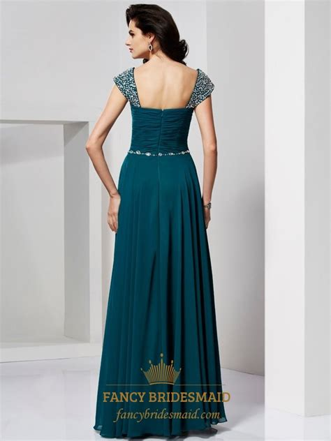 Beaded Floor L by A Line Sweetheart Beaded Cap Sleeve Floor Length Chiffon Prom Dress Fancy Bridesmaid Dresses