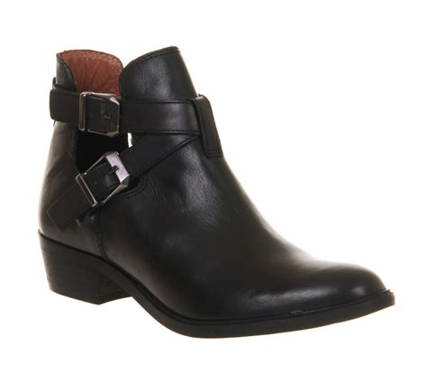 womens office bronson cut out black leather boots ebay