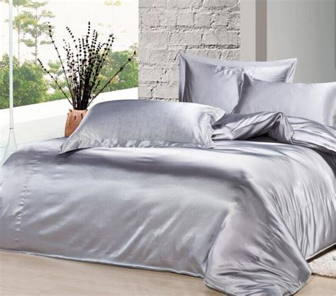 silver satin comforter custom size 2015 spring summer luxury silver grey mulberry