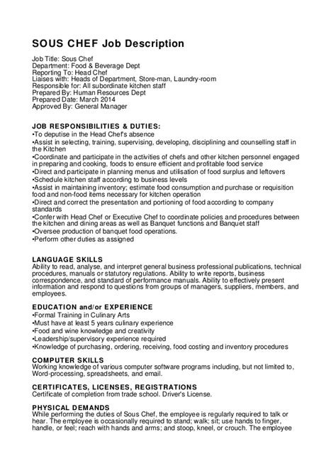 Sle Resume Line Cook Duties Chef Resume Sle Writing Guide 28 Images Cook Resume