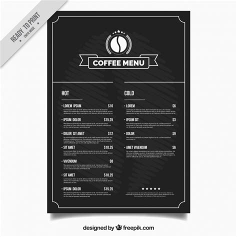 coffee price list template coffee shop menu template vector free