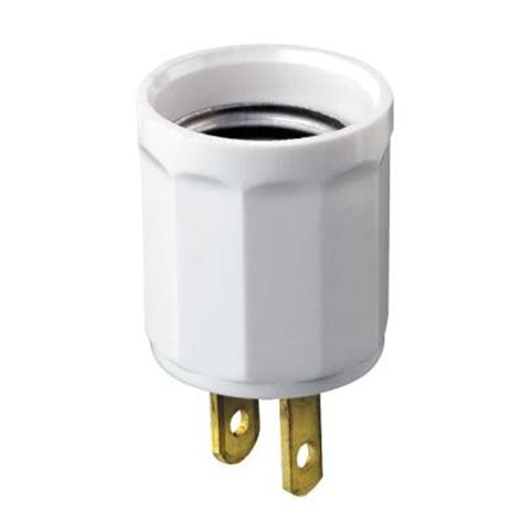 leviton white outlet to socket light plug r52 00061 00w
