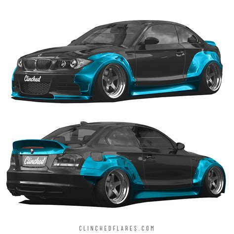 bmw e82 widebody kit by clinched fits 128i 135i