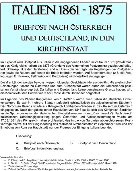 Bewerbung Deutschland Nach Osterreich Philatelistisches Exponat Italien 1861 1875 Briefpost Nach 214 Sterreich Nach Deutschland In