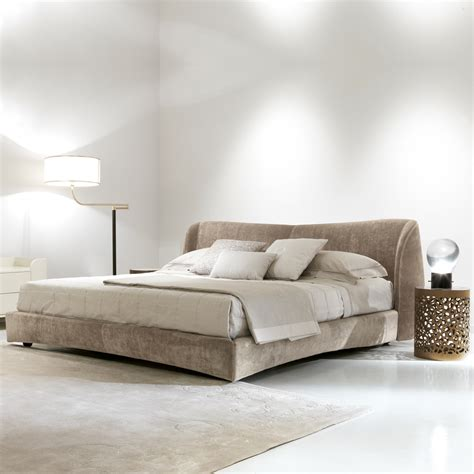 upholstered bed high end italian velvet designer low upholstered bed