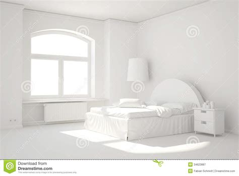 Curtains Modern Print Empty White Bed Room With Window Stock Illustration