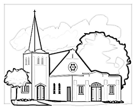 church outline coloring pages
