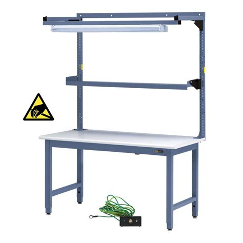 overhead bench iac steel workbench w overhead light utility shelf 30