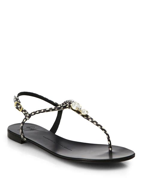 black sandals giuseppe zanotti jeweled leather t strap sandals in black
