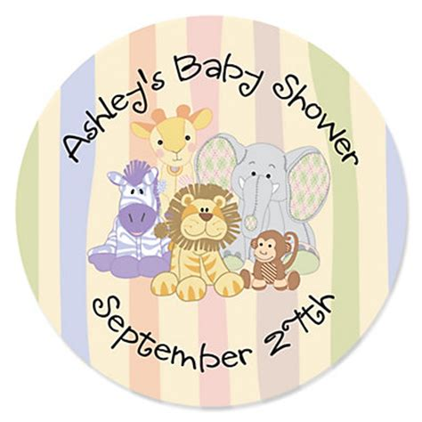 personalized baby shower labels zoo crew zoo animals personalized baby shower sticker