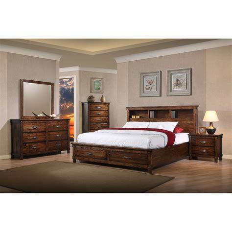 rustic classic brown  piece king bedroom set jessie