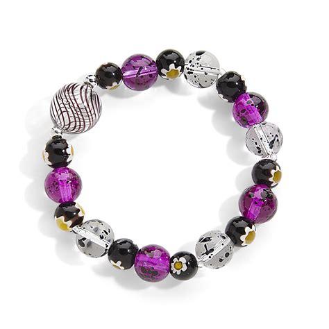 purple bead bracelet purple artisan glass bead stretch bracelet