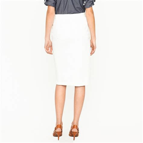 j crew high waisted denim pencil skirt in sunwhite wash in