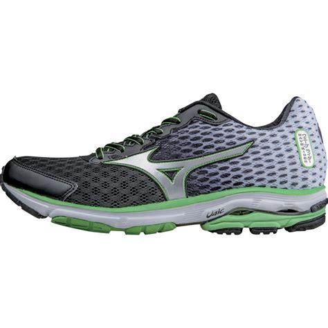 black mizuno running shoes mizuno wave rider 18 running shoes black silver at