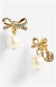 Kate spade skinny mini bow faux pearl drop clip earrings in gold