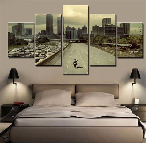 5 panel painting drop shipping hd printed the walking dead