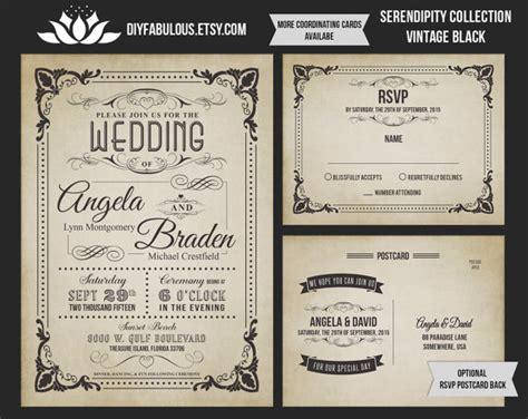 printable retro invitations new serendipity collection vintage wedding invitation