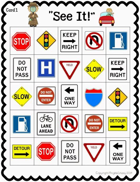 printable european road signs road trip activities a fun resource street sign bingo