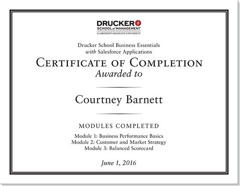 Certificate Courses For Mba Finance by Certificate Drucker School Mba Essentials For Salesforce