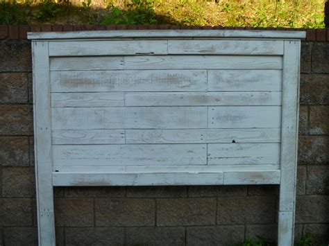 white distressed headboard distressed white pallet headboard pallets fabulous