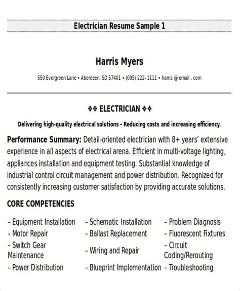 resume format for electrical technician 9 sle maintenance technician resumes sle templates