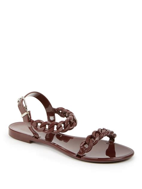 burgundy sandals givenchy nea jelly flat sandals in purple burgundy lyst