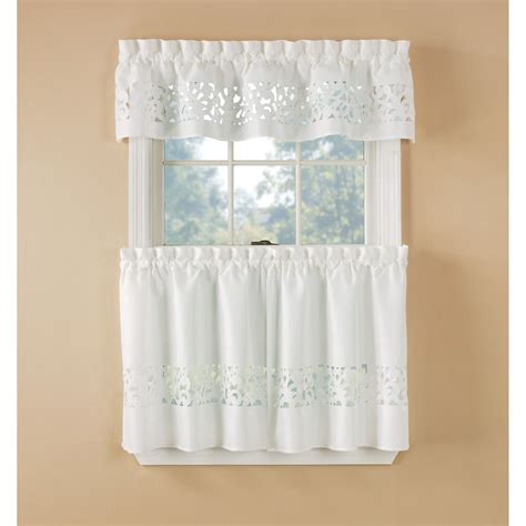 Kitchen Curtains At Kmart Essential Home White Lazer Cut Tier Set Home Home Decor Window Treatments Hardware