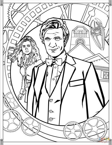 dr who coloring pages eleventh doctor coloring page free printable coloring pages