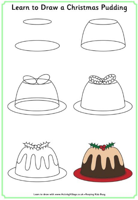 drawing step to step christmas decorations learn to draw a pudding