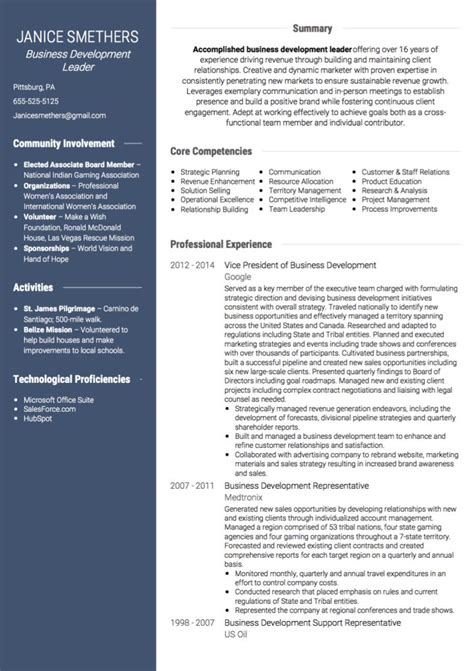 Cv In Business Business Development Cv Exles And Template