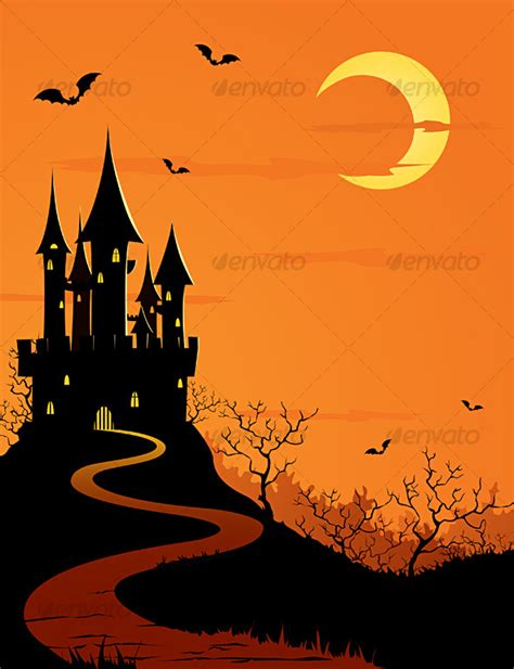 dark themes in cartoons halloween mystery castle by blackbastet graphicriver