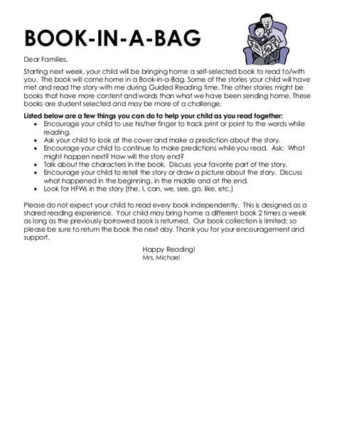 Parent Letter Novel Study guided reading letter