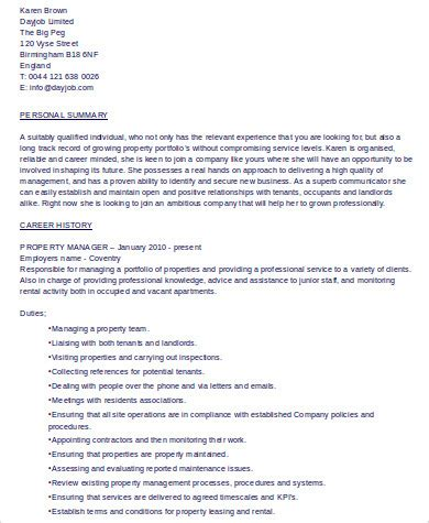Management Skills For Resume by 8 Sle Property Management Resumes Sle Templates