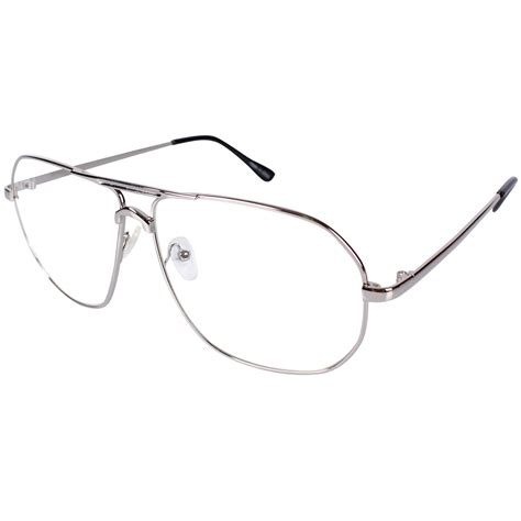 Metal Frame Lens Glasses encacc aviator clear lens glasses eyeglasses silver metal