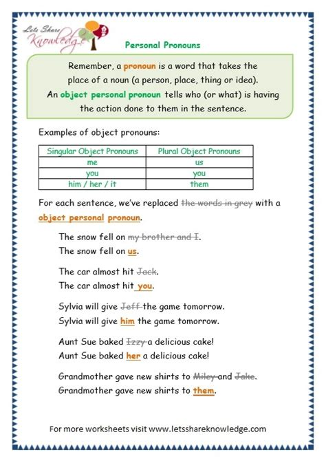 personal pronouns worksheet for grade 4 1000 images