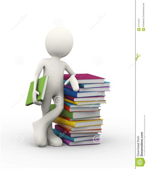 of the person books 3d with books stock illustration image 47714471