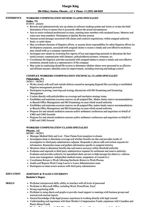 Workers Compensation Investigator Sle Resume by Workers Compensation Specialist Resume Sles Velvet