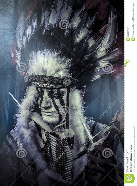 american indian warrior chief   tribe stock