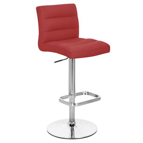 bar stools chrome red lush adjustable height swivel armless bar stool with