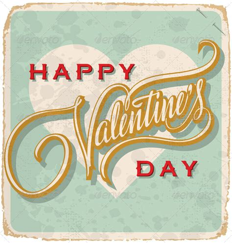 happy valentines day vintage lettered vintage card vector graphicriver