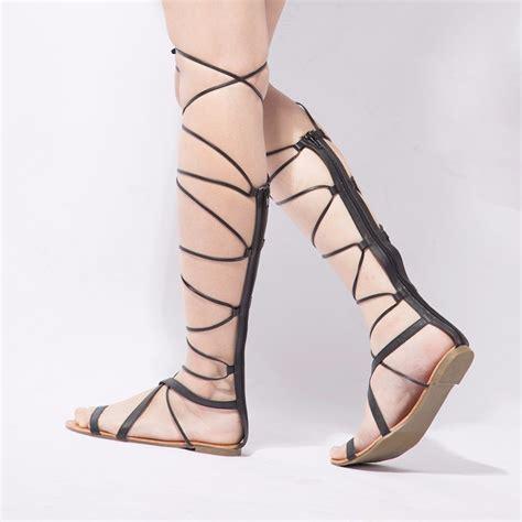 plus size knee high gladiator sandals plus size 5 10 fashion gladiator sandals cutout